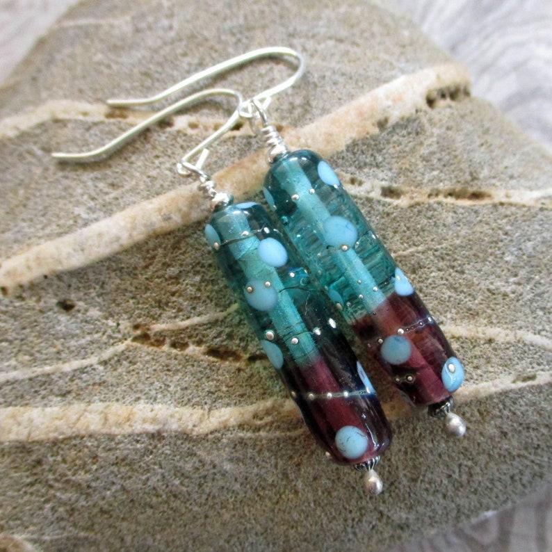Teal & Purple glass tube earrings lampwork glass beads image 0