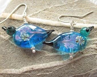 Lampwork glass bird bead earrings, aqua blue handmade beads, SRAJD art glass jewelry, glassbead, SRA, Isinglass Design