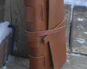 Ochre Brown Leather Journal . handbound . 320 recycled pages