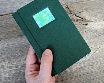 SALE + Free Shipping -- Handbound Journal featuring marbled paper
