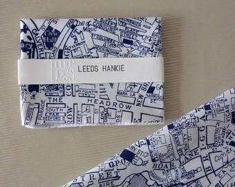 Leeds Hankie screenprinted vintage map handkerchief