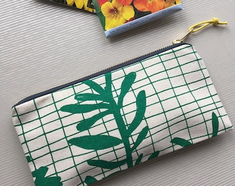 Sprig Grid screenprinted cotton pencil case