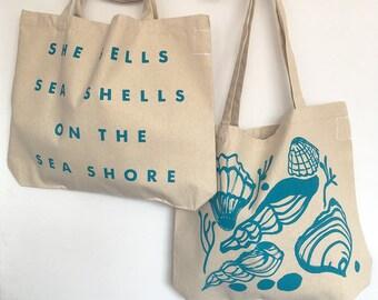 She Sells Sea Shells screenprinted cotton beach shoulder bag