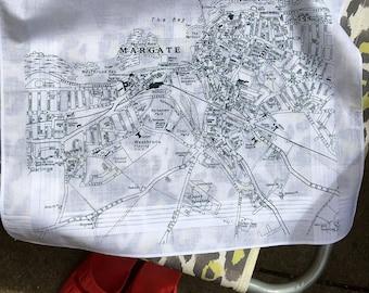 Margate Hankie screenprinted vintage map handkerchief