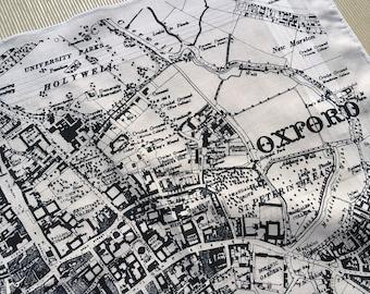 Oxford Hankie screenprinted vintage map handkerchief