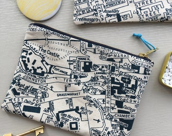 Edinburgh Map large clutch purse screenprinted cotton