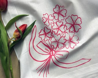 Love Always floral bunch screenprinted cotton square handkerchief