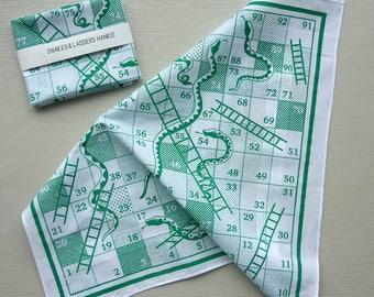 Snakes & Ladders Boardgame Hankie screenprinted cotton handkerchief