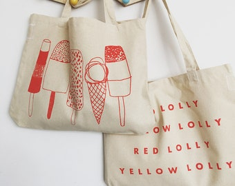 Red Lolly Yellow Lolly screenprinted cotton shopper tote bag