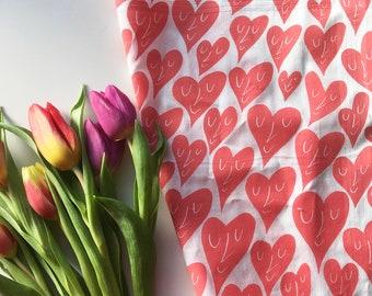 Happy Hearts Hankie screenprinted cotton handkerchief