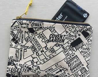 London Map screenprinted cotton large clutch purse