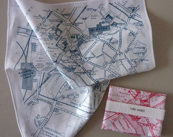York City Map Hankie screenprinted cotton handkerchief