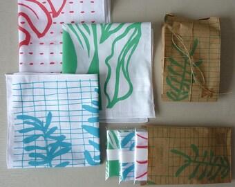 Set of three Leafy Hankies :  botanical screenprinted cotton handkerchiefs in tropical colours