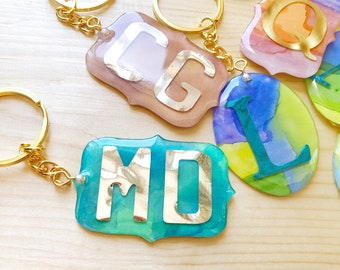 PERSONALISED KEY CHAIN Name Initial Keychain Abstract Watercolor Painting Resin Accessory Cute Gift Idea Keyring Keychain Gift Key Chain