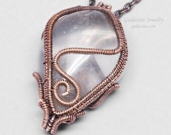 Quartz and Copper Necklace Pendant