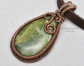 Serpentine and Copper Pendant Necklace