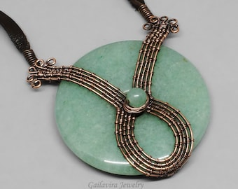 Green Aventurine Donut, Copper and Leather Necklace