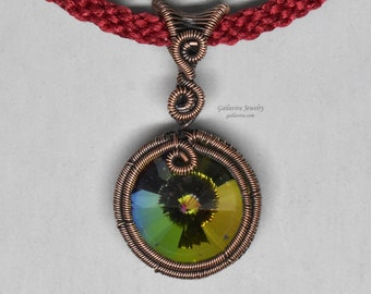 Rainbow Crytal Rivoli Wire Wrapped Pendant on Handwoven Necklace