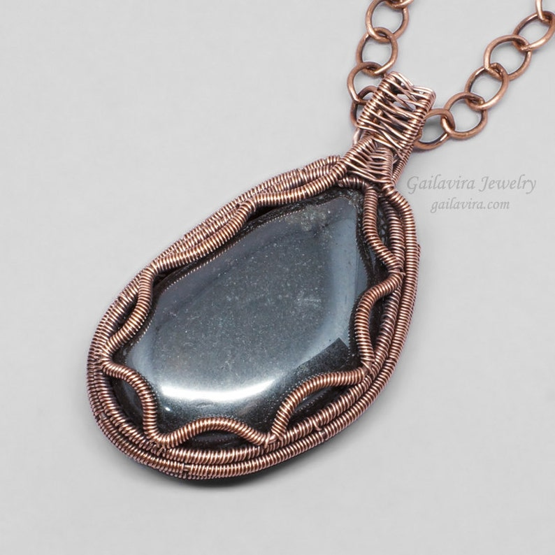 Hematite and Copper Necklace Pendant image 0