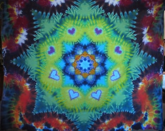 """Tie Dye heart mandala on cotton lawn (with embroidered scalloped edging)  71"""" x 57"""" twilightdance"""