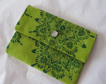 Hand dyed and block printed mandala fabric envelope wallet *original art* OOAK twilightdance