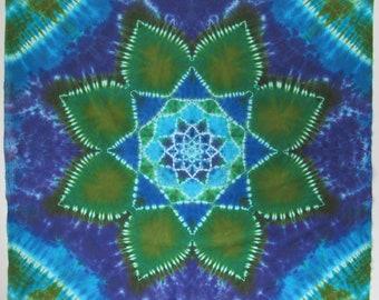"STELLA BLUE tie dye mandala on cotton 56"" x 56"" twilightdance"