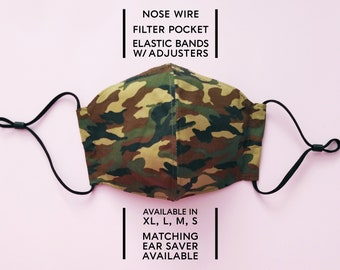 2 Layer Cotton Face Mask–Camo Brown(available in XL, L, M, S) and Matching Ear Saver(in L, M, S)–Select Your Option