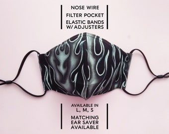 2 Layered Cotton Face Mask–Black Flame(available in L,M,S) and Matching Ear Saver(in L, M, S)–Select Your Option