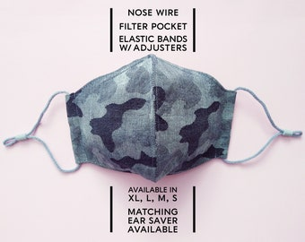 2 Layered Cotton Face Mask–Camo Indigo(available in XL, L, M) and Matching Ear Saver(in L)–Select Your Option