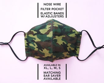 2 Layered Cotton Face Mask–Camo Green(available in XL, L, M, S) and Matching Ear Saver(in L, S)–Select Your Option
