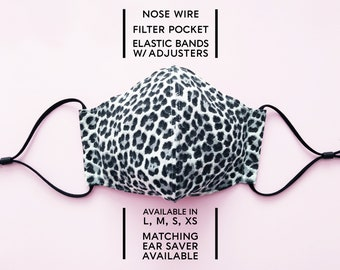 2 Layered Cotton Face Mask–Leopard Silver(available in L,M,S,XS) and Matching Ear Saver(in L, M, S)–Select Your Option