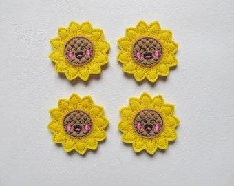 4 Felt Joyful Sunflower Applique Embellishments Style GS
