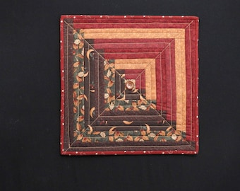 Multi-colored fall log cabin block quilted wallhanging