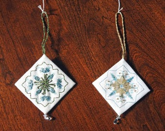 X-stitch and decorative stitch snowflake ornaments - choice of 2