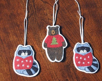 Wool hand-appliqued animal ornaments - choice of 3