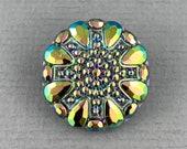 Vintage, black Czech glass button, metallic rainbow AB finish, jewelry, embellishment, knitting, crocheting, sewing - 23mm - 1 pc - GBN700
