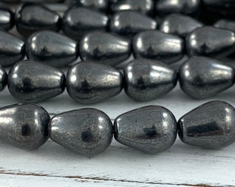 Hematite Faceted Teardrop Pendant Bead 1pc