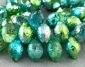 Transparent Green, textured pressed Czech glass lemon beads, metallic lime green, teal and silver - 14mm x 10mm - 6 or 12pcs - MG404-b77