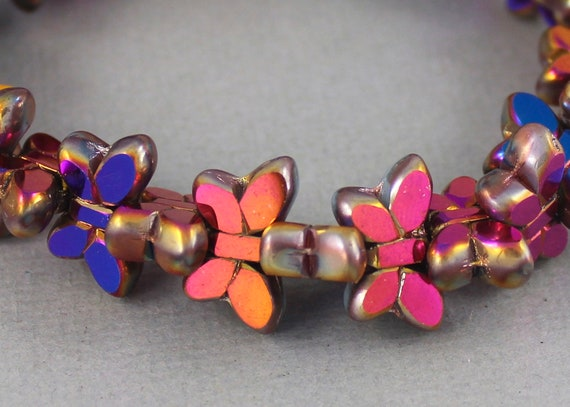 MG305-b54 long bicone 20mm x 6mm Lavender purple spindle shaped pressed Czech glass beads lantern beads amethyst 12 pcs