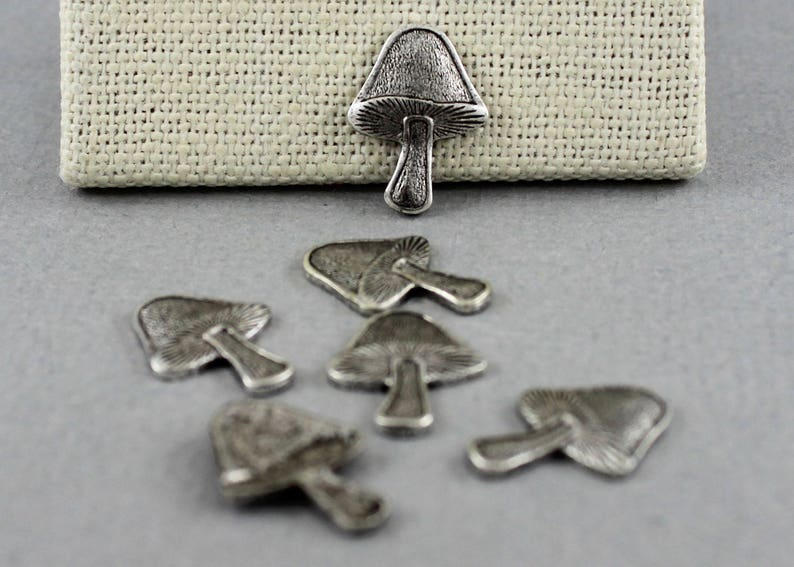 6 pcs Antique Silver plated mushroom stampings 13mm x 17mm nature STM104 woodsy embellishment
