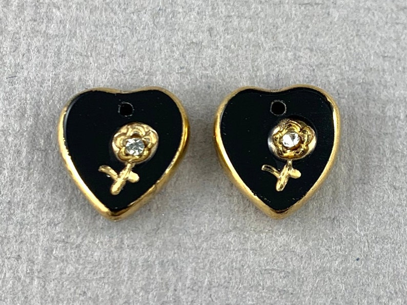 2pc crystal chaton 12mm x 11mm charm Vintage Gilded intaglio jet black glass heart pendant flower top drilled MG376-d0
