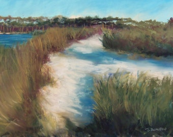 Grayton Beach Path 30A original pastel painting  9x12 inches Free Shipping