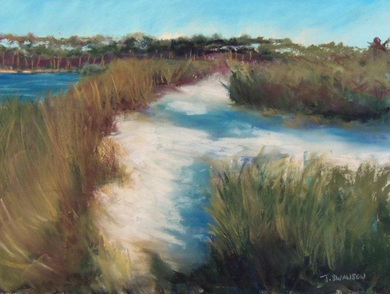 Grayton Beach Path 30A original pastel painting  9x12 inches image 0