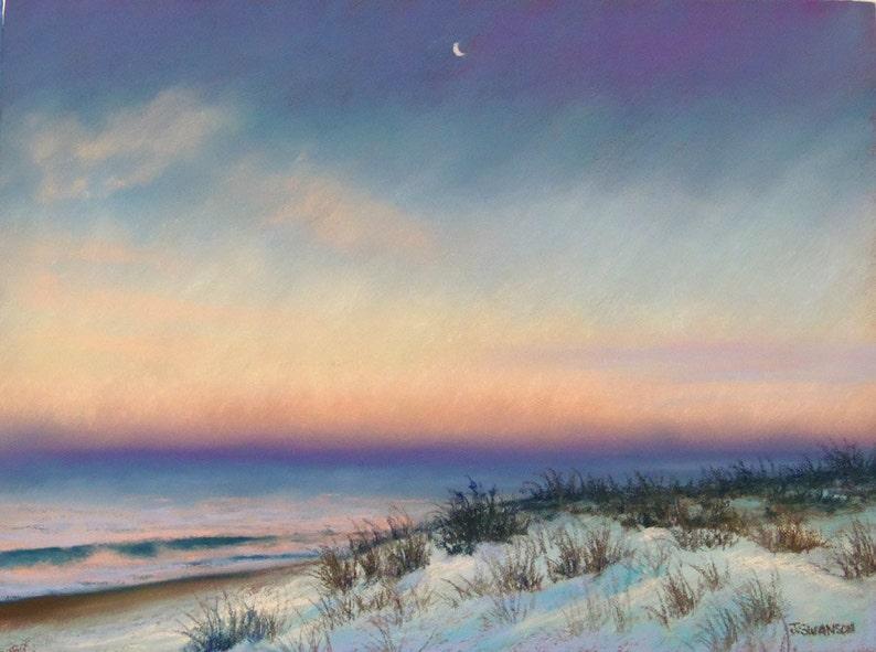 Snow at Sunrise in Bay Head Original Pastel Painting 9x12 image 0