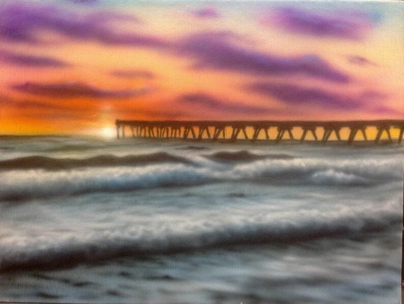 Sunset pier Panama City Beach Florida 9x12 inches acrylic image 0
