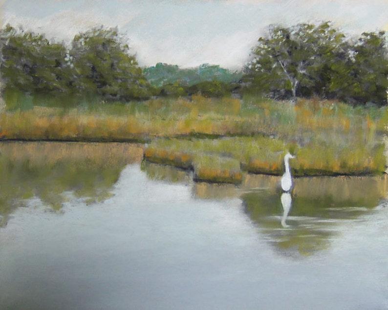 Egret at Twilight Lake Original Pastel painting 8x10 inches image 0