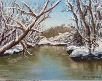 Snow Creek original pastel painting 9x7 inches