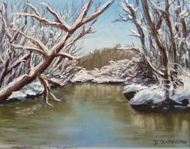 Snow Creek original pastel painting 9x7 inches image 0