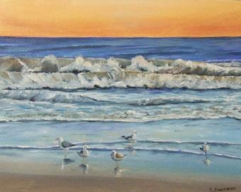 Serenity Original Oil painting of Seashore sunrise with sea gulls 8 x 10 inches florida beach FREE SHIPPING