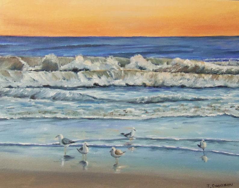 Serenity Original Oil painting of Seashore sunrise with sea image 0